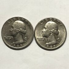 1985 P and D 2 Coin Washington Quarters Set In Great Condition