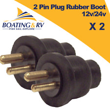 2 x Electrical 2 Pin Plug Rubber Boot 12v/24v Power Auxiliary Input Output