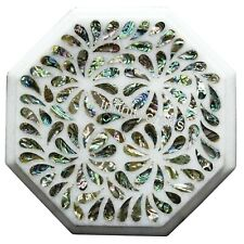 Shiny Abalone Shells Inlaid Marble Coffee Table Top Octagon Side Table 15 Inches