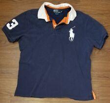 Vintage Ralph Lauren Big Pony Polo Shirt Custom Fit Navy Blue Extra Large XL