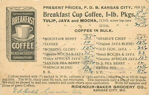 Ridenour-Baker Grocery Co, Kansas City, Missouri Coffee Advertising Postcard