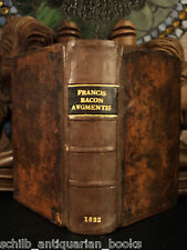 1662 Francis BACON Science De Augmentis Scientiarum Scientific Philosophy