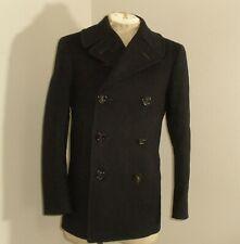 Vtg 40's 50's Usn Issue Navy Blue Wool Pea Coat Corduroy Pockets 34R Peacoat