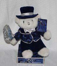 "2000 Y2K New Years Special Edition Millennium Keepsake Teddy Bear & Coa 11"" Blue"