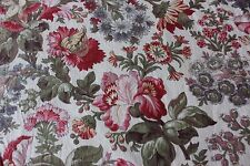 French Antique Indienne Floral Cotton Fabric Yardage~L-122 X W-32""