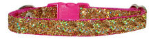 """handmade shocking pink & gold sparkle  chihuahua  dog pup collar 7""""-10"""" fabric"""
