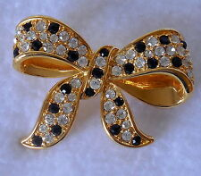 Vintage Fashion Jewelry CLEAR & BLACK RHINESTONE RIBBON BOW pin brooch