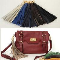 Women bag accessory genuine leather tassel charm Key chain ring Handbag ornament