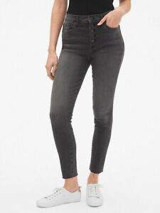 GAP High Rise Legging Skimmer Ankle Jeans Washed Black Denim Women's Size 32 14