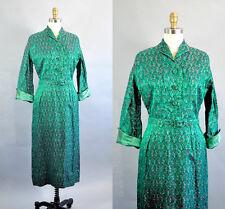 Vtg 1940s Women's Shirtwaist Dress Emerald Green Red Brocade Long Sleeves Sz Med