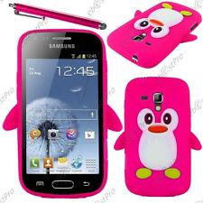 Coque Housse Etui Silicone Pingouin Rose Samsung Galaxy Trend S7560 +Stylet