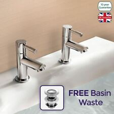 BLOSSOM BATHROOM ROUND CHROME BASIN HOT & COLD TAP PAIR SOLID BRASS *FREE WASTE*