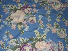 Linen cotton blend floral med blue back round 1 Linear yard
