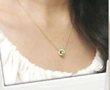 Gold Coloured Double Circle Pendant Necklace (N019)