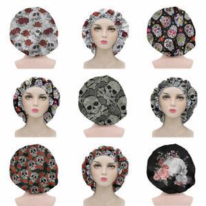Womens Skull Womens Hat Beanies Caps Satin Sleep Hats with Elastic Drawstring
