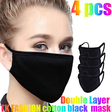 4, 5,10 Pcs Soft Cotton Face Black Mask Double Layer Reusable / Washable/ Unisex