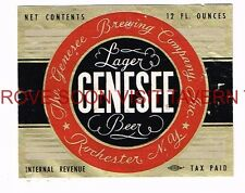 Scarce 1940s Genesee Lager Beer 12oz Label Tavern Trove
