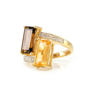 Exklusiver Goldring mit Diamanten Topas 333 Gold gemstone diamond Edelsteinring