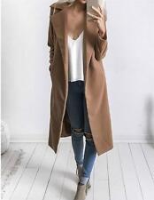 Women Slim Winter Warm Wool Lapel Long Coat Trench Parka Jacket Overcoat Outwear