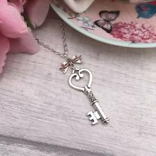 Large Silver Key NECKLACE Alice in Wonderland VINTAGE Steampunk CHARM Adjustable