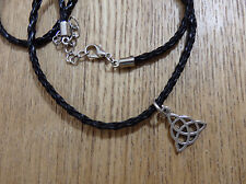 Celtic Triquetra Sterling Silver Plated Charm Pendant Twist Leather Necklace