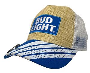 Budweiser Bud Light Beer Bottle Opener Visor Straw Trucker Hat Cap Beach Summer