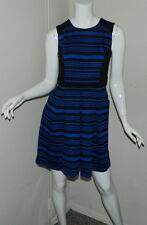 New Women Petite Ann Taylor Striped Sleeveless Black Blue Cocktail Work Dress 4P