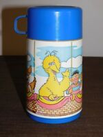 "VINTAGE 6 1/2"" HIGH ALADDIN MUPPETS BERT ERNIE  PLASTIC LUNCH BOX THERMOS"