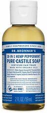 Dr. Bronners 18 in 1 Hemp Peppermint Pure Castile Soap Organic 2 FL OZ TRAVEL sz
