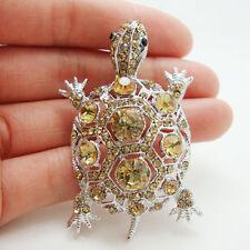 Vintage Tortoise Silver-tone Brooch Pin Brown Rhinestone Crystal Turtle