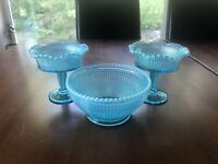"""Rare Antique Model Flint Glass """"Ribbed Spiral"""" Lot Of 3 Blue Opalescent Pieces"""