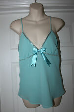 Ladies Aqua Green Top ize 12 Strappy Vest with Beads H&M Divided