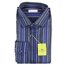 NWT $375 Mens ETRO Light Blue Extrafine Cotton Slim Fit Dress Shirt 44 17 1/2