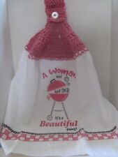 Crochet (A Woman and Her Grill) Kitchen Towel ~ **Gift Idea