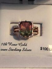 18K Rose Gold Over Sterling Silver Size 7 Watermelon / Multicolor Baguette NIB