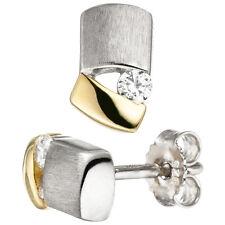 JOBO Ohrstecker 925 Sterling Silber bicolor vergoldet matt 2 Zirkonia Ohrringe