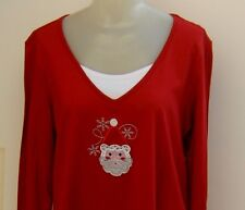 Santa Claus Christmas Top Blouse Layered Look Holiday Editions Size Large