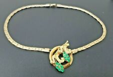 """Gold tone Chain Necklace 16"""" Vintage Green Rhinestone Faux Pearls"""