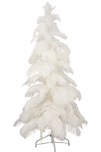 White Christmas Tree Real White Ostrich Feather Branches 2FT Tall w/ Stand