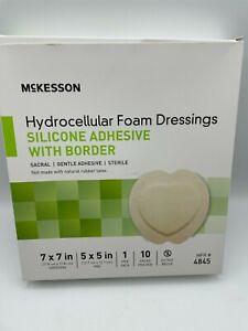 """10 Hydrocellular Foam Dressing 7""""x7"""" Sacral Silicone Adhesive w/ Border Bs93"""