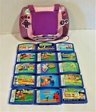 Leap Frog Leapster Pink Learning Game System & 15 Game Cartridges Good Used Cond