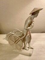 "Vintage Porcelain Asian Man Pulling Cart Planter Figurine 7""L x 6.5W"
