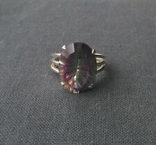 STERLING SILVER MYSTIC FIREY TOPAZ STONE RING SIZE O  SOLID 925