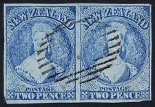 New Zealand 1862 SG38 2d Pale Blue PAIR VGU crisp central cancel. Cat. £180.00++