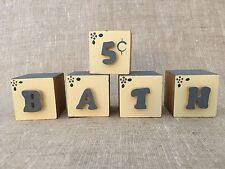 Bath Wooden Wood Letter Alphabet Word Free Standing Bathroom Home Decor