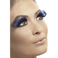 Very Long Blue with Black Fake False Falsies Eyelashes with Adhesive