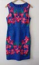 Oasis blue & pink sleeveless lined dress, 12, preloved, VGC, formal or holiday