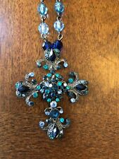 crystal Cross and beaded chain Fashion Jewelry antique silver and blue/green