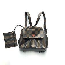 Fendi Vintage Mini Backpack Pequin Logo Brown Black PVC w/Small Pouch Authentic