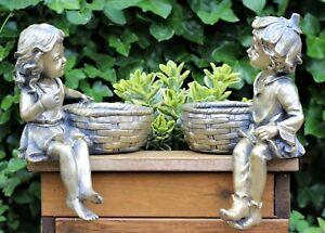 Garden Ornament Fairy Cherub Boy Girl Pixie Bird Feeder Bath Planter 32cm